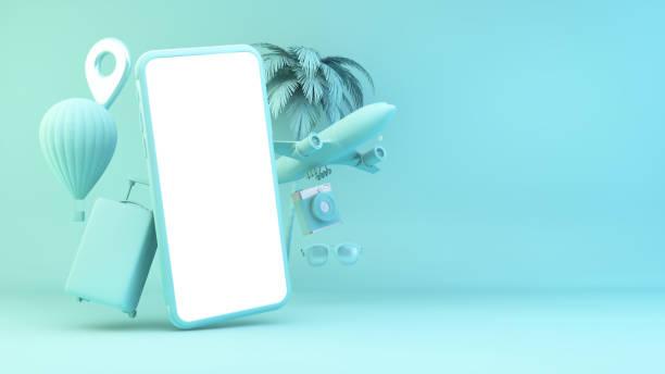 Blue smartphone travel concept stock photo