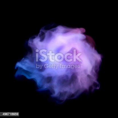 497301927 istock photo Blue smoke explosion isolated on black 496718659