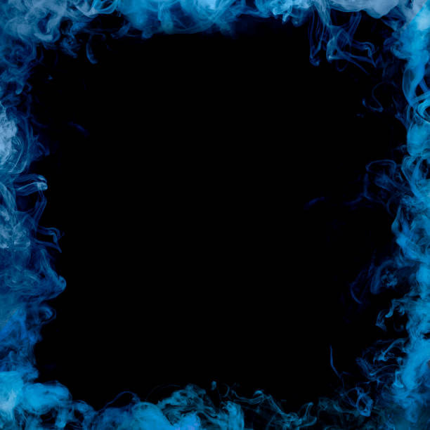 blue smoke frame stock photo