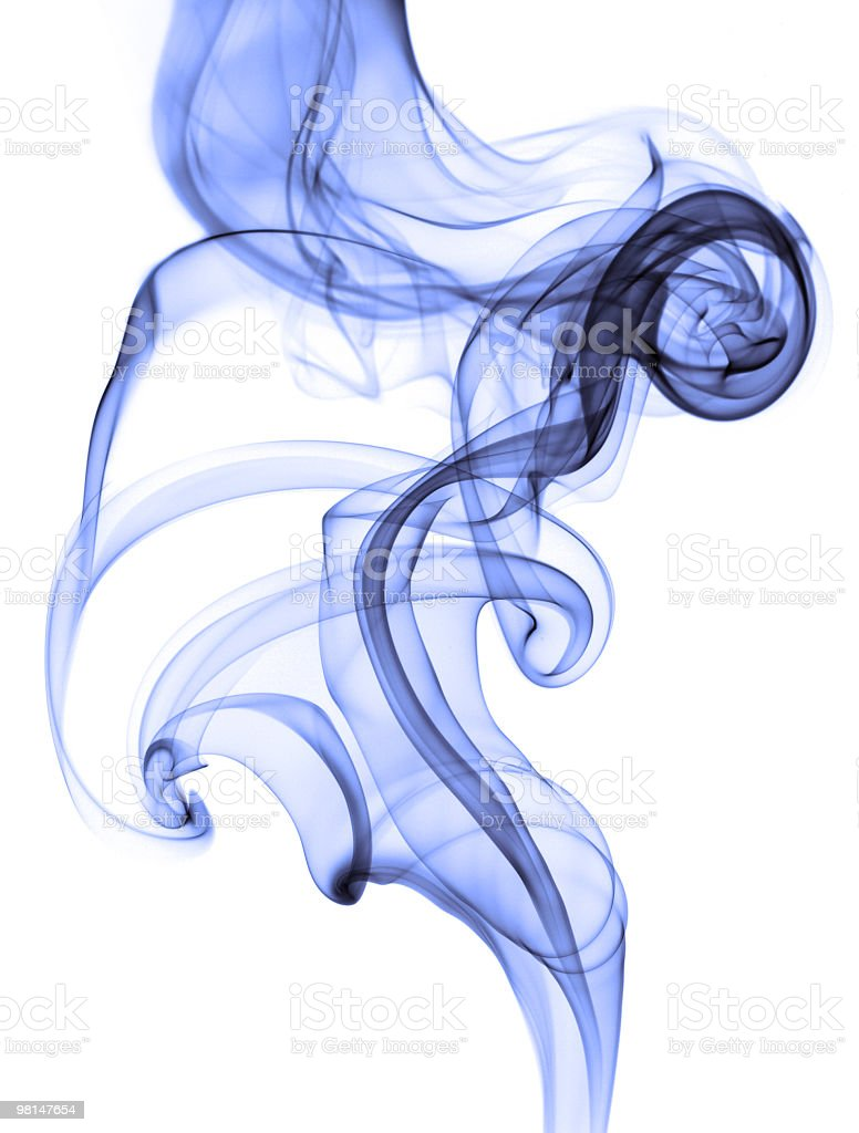 Blue smoke on white background royalty-free stock photo