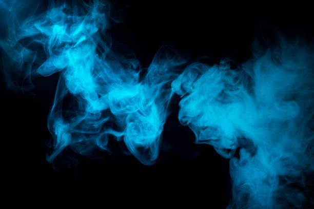 blue smoke shapes stock photo