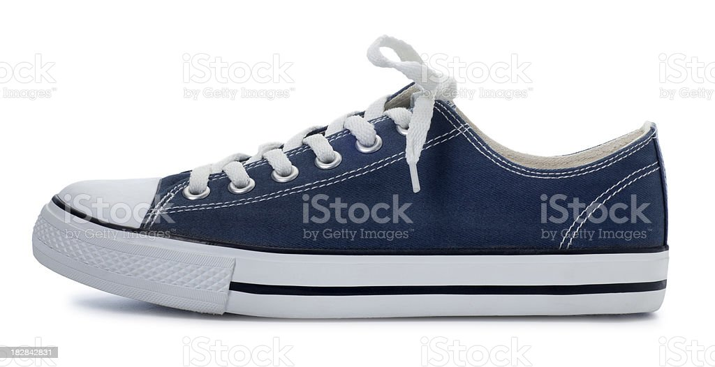 Blue Sneaker on a White Background stock photo