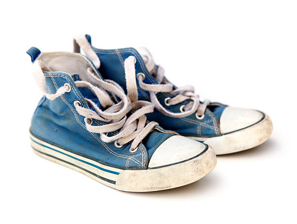 blue sneakers - dirty shoes stock photos and pictures