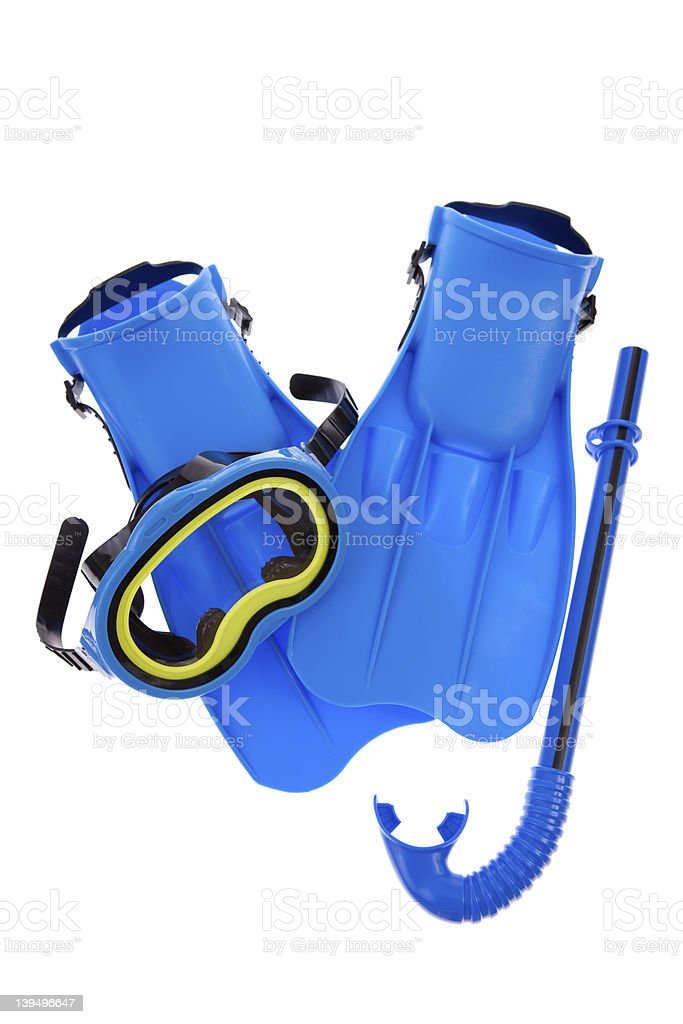 Blue snorkel gear on white background stock photo