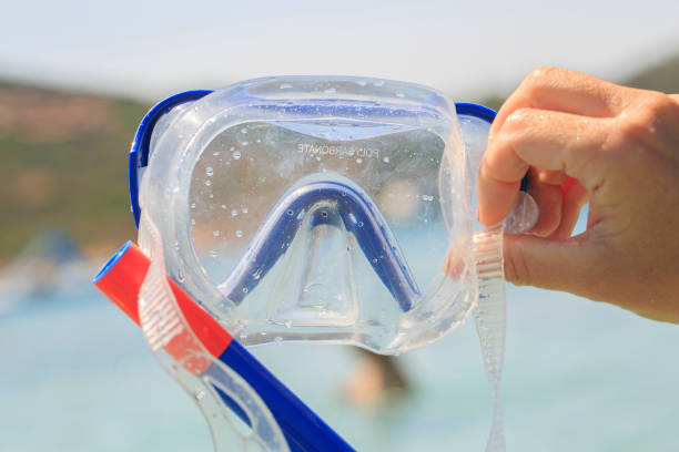 Blue Snorkel glasses in the hand stock photo