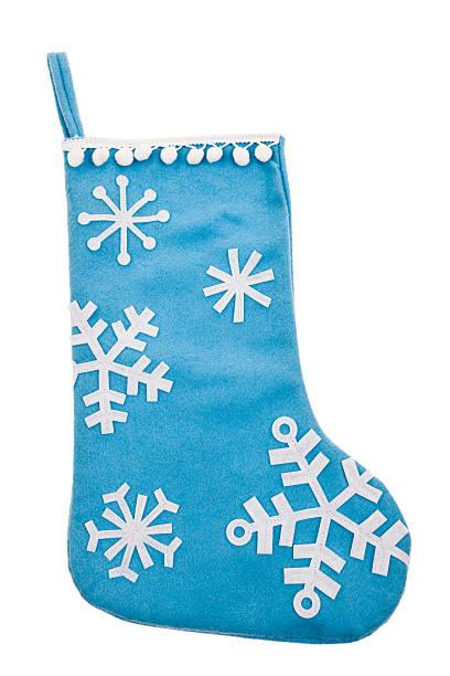 blue snowflake christmas stocking stock photo