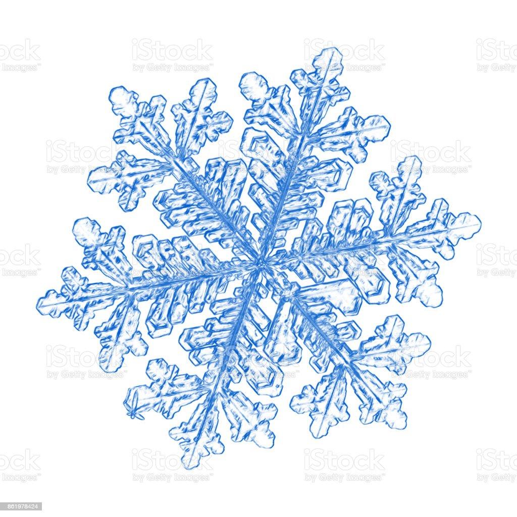 Blue snowflake on white background stock photo