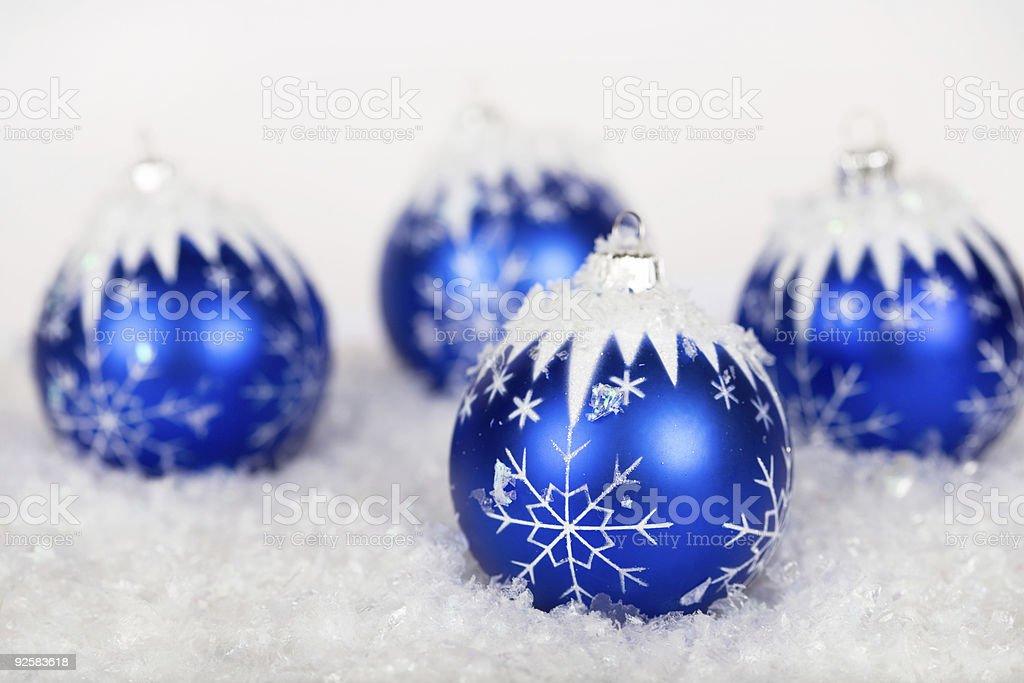 Blue snowflake ornaments royalty-free stock photo