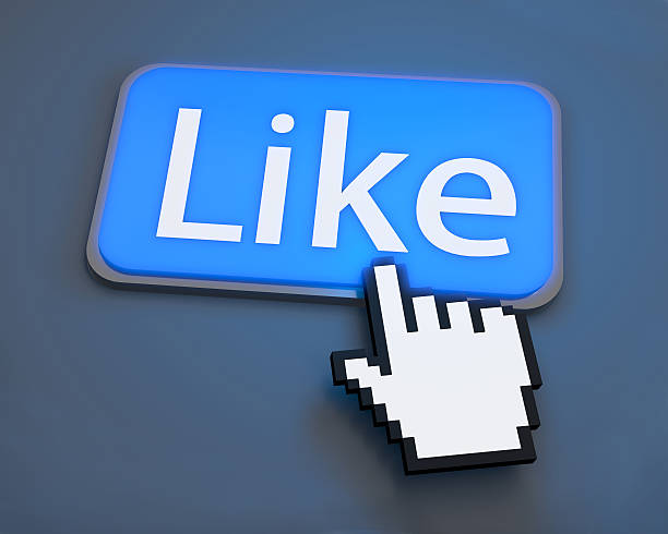 A blue social media like button with a pointing arrow finger stock photo