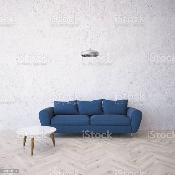 Niebieska Sofa W Białym Salonie Inteiror - zdjęcia stockowe i więcej obrazów Bez ludzi