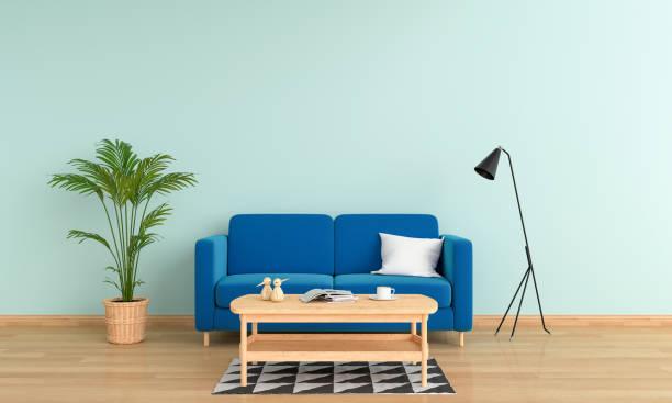 blauen sofa im wohnzimmer interieur, 3d rendering - hellblaues zimmer stock-fotos und bilder