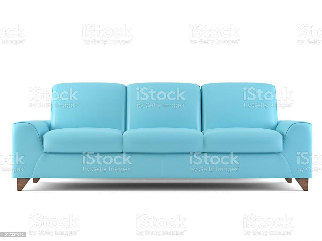 Blaue Sofa Isoliert Auf Weiß Lizenzfreies Stock Foto