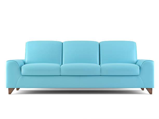 blaue sofa isoliert auf weiß - kanapee stock-fotos und bilder