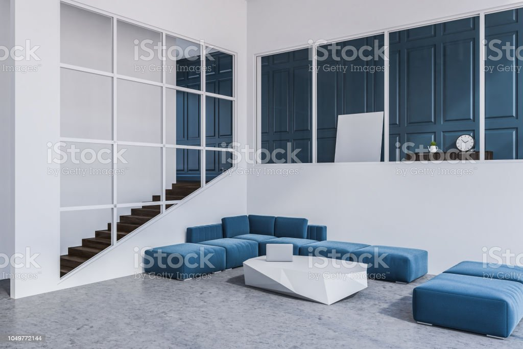 Blau Weiß Wohnzimmer Sofaecke Poster Stockfoto und mehr Bilder von Behaglich