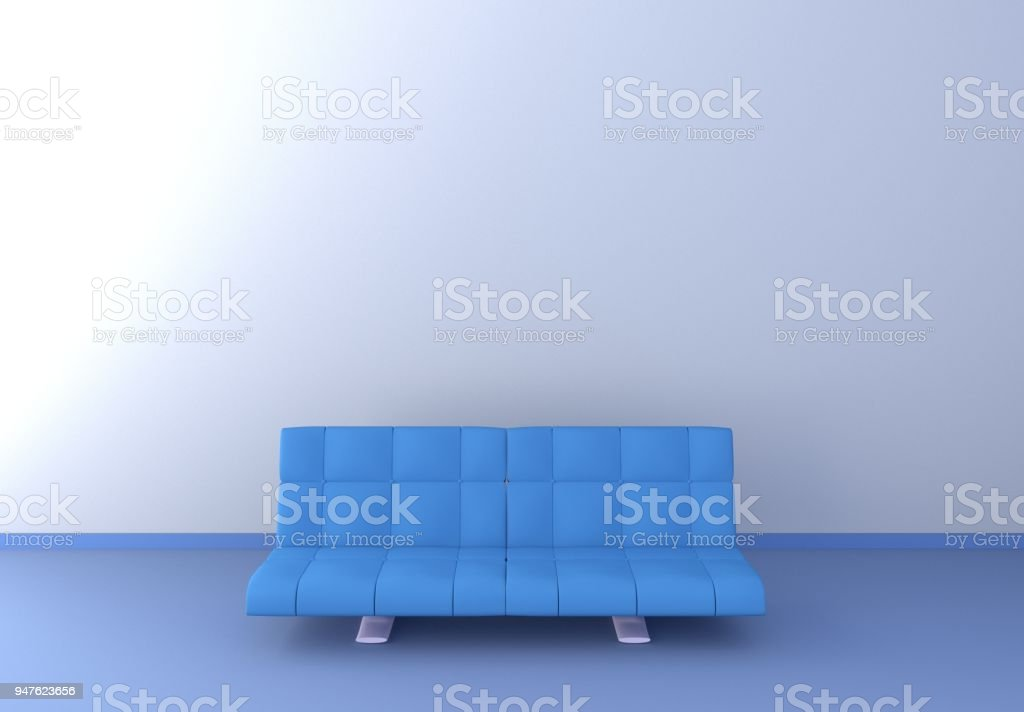 Blue sofa with blue floor and white wall. 3D rendering. stock photo