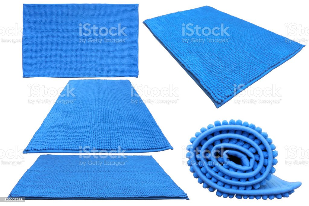 Blue soft bathroom carpet stock photo