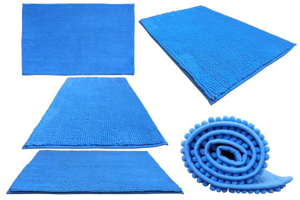 Blue soft bathroom carpet stock photo