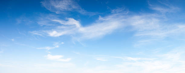 Blue soft sky Panoramic blue sky with soft clouds great as background. This file is cleaned and retouched. cloud sky stock pictures, royalty-free photos & images