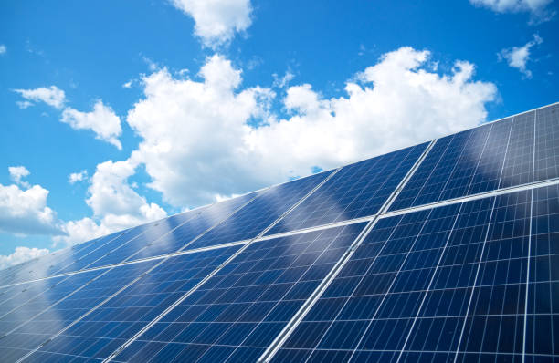Blue solar panels over blue sky. Renewable energy. Blue solar panels over blue sky. Renewable energy. solar panels photos stock pictures, royalty-free photos & images