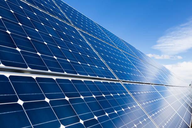 Blue solar panels stock photo