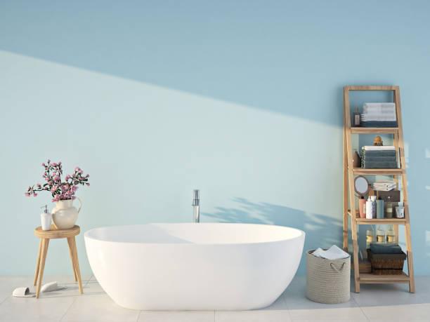 casa de banho spa azul. renderização 3d - banheiro doméstico - fotografias e filmes do acervo