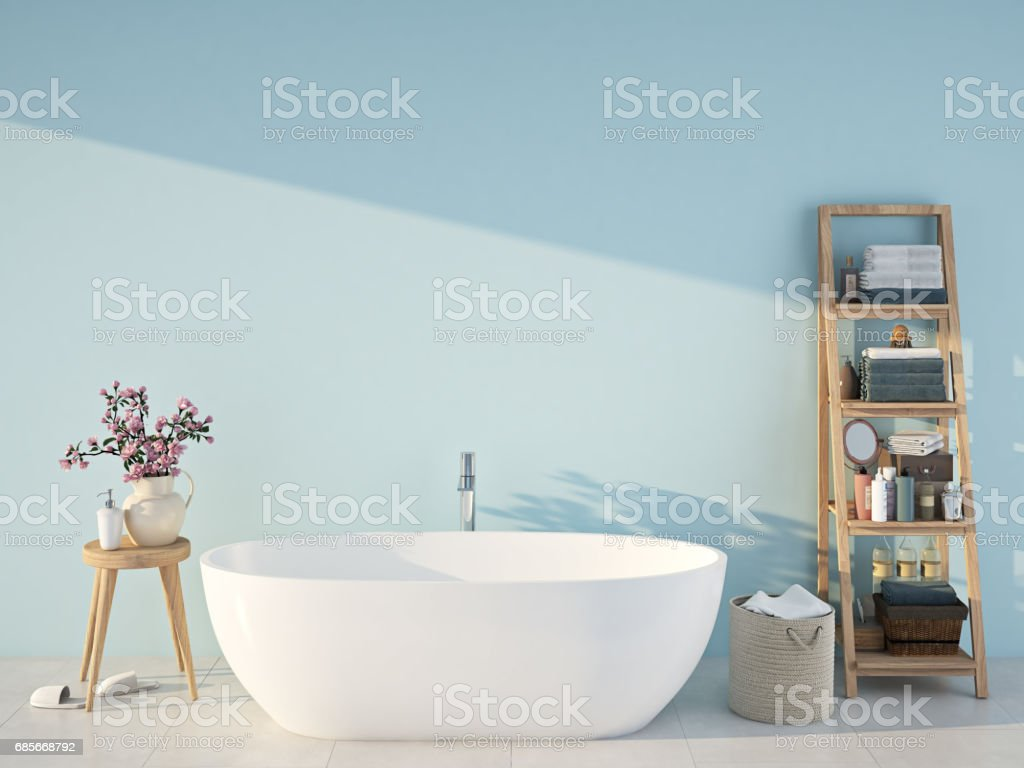 blue spa bathroom. 3d rendering stock photo