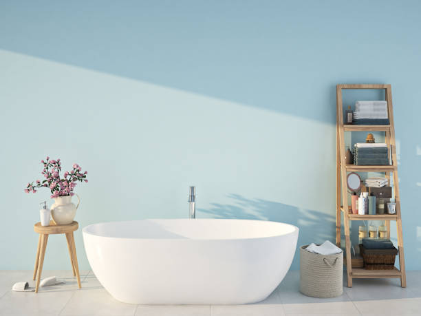 blue spa bathroom. 3d rendering 3d rendering. spa bathroom with blue wall bathtub stock pictures, royalty-free photos & images