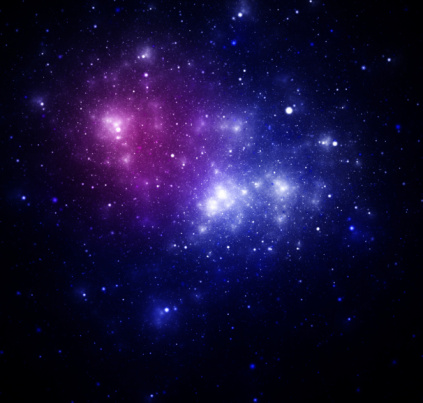 Blue space nebula as abstract background