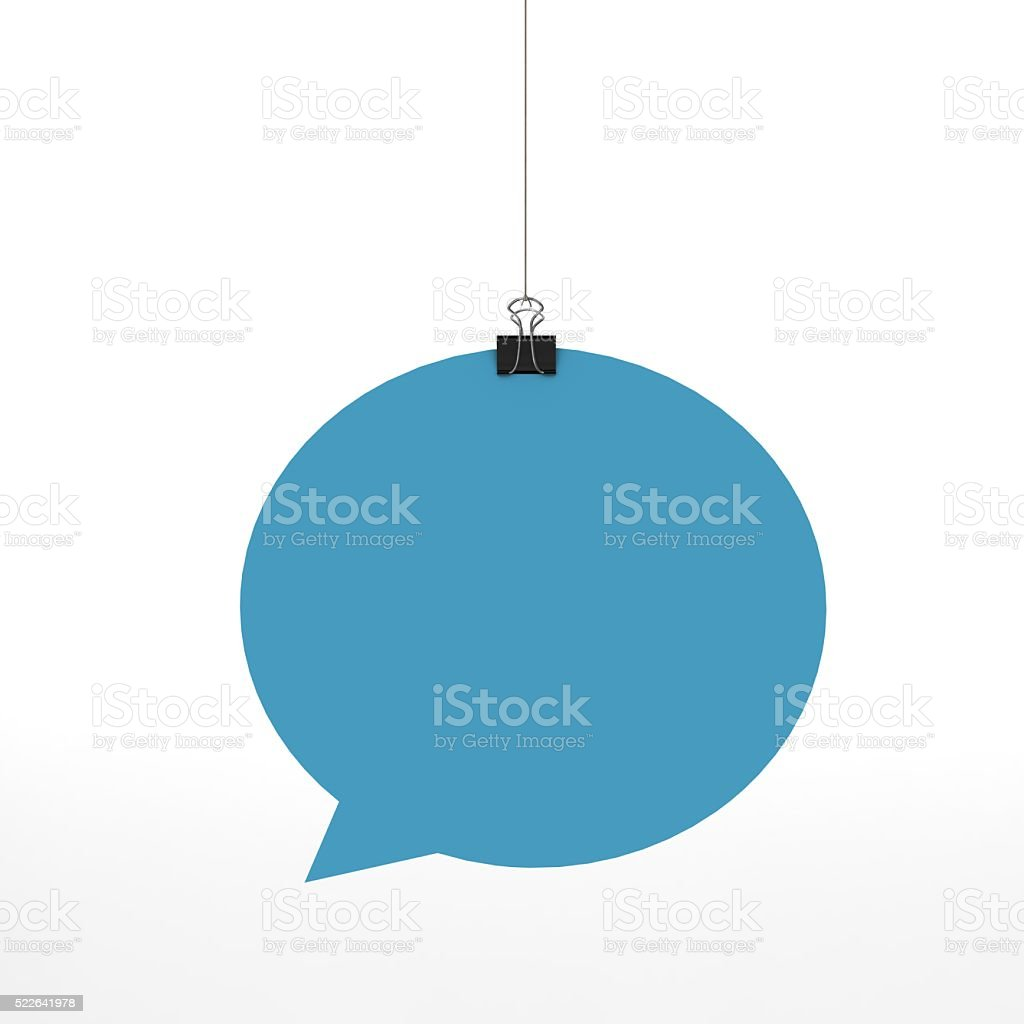 Blue speech bubble hanging on a string stock photo