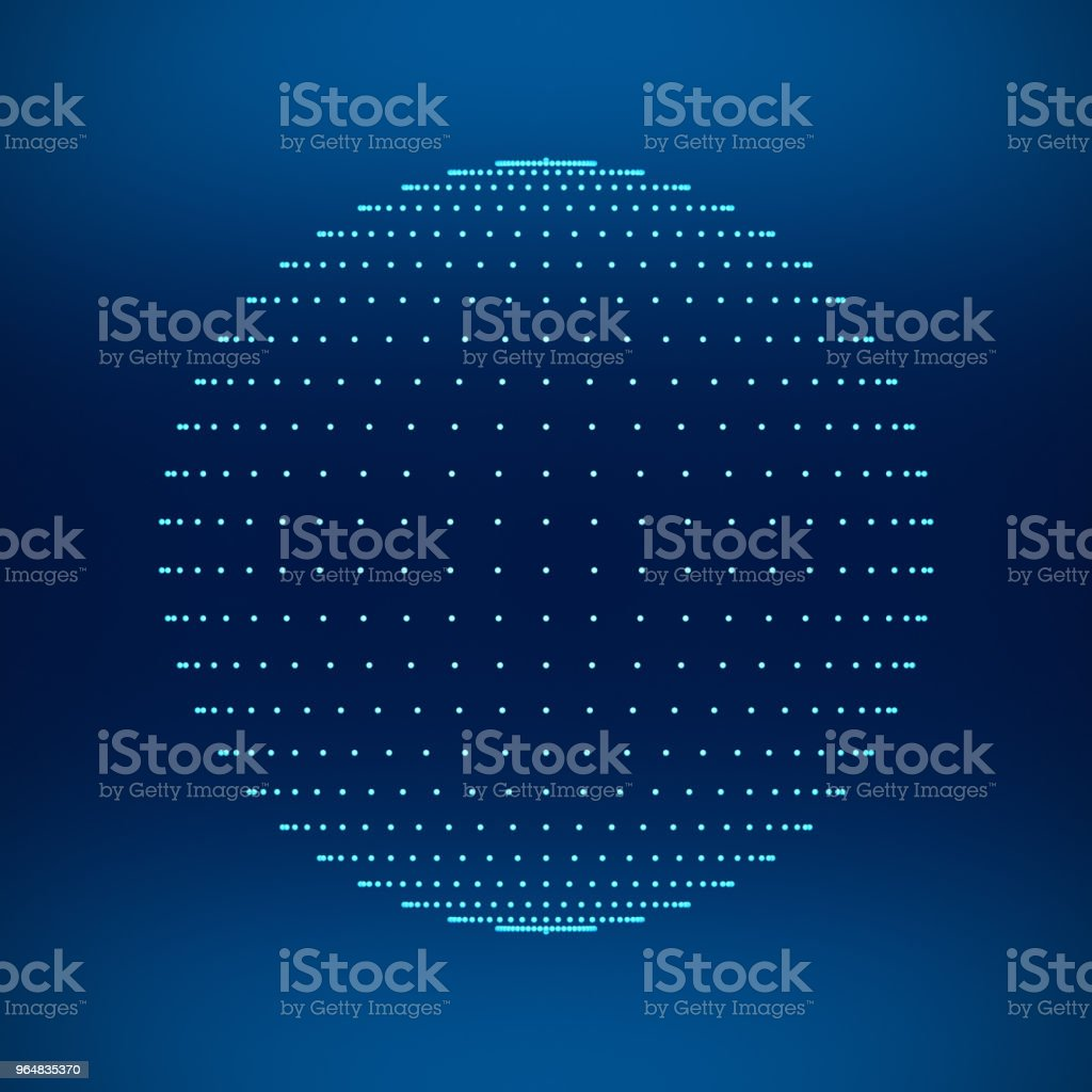 Blue sphere. Network connections with dots on black background in technology concept. 3d illustration royalty-free stock photo