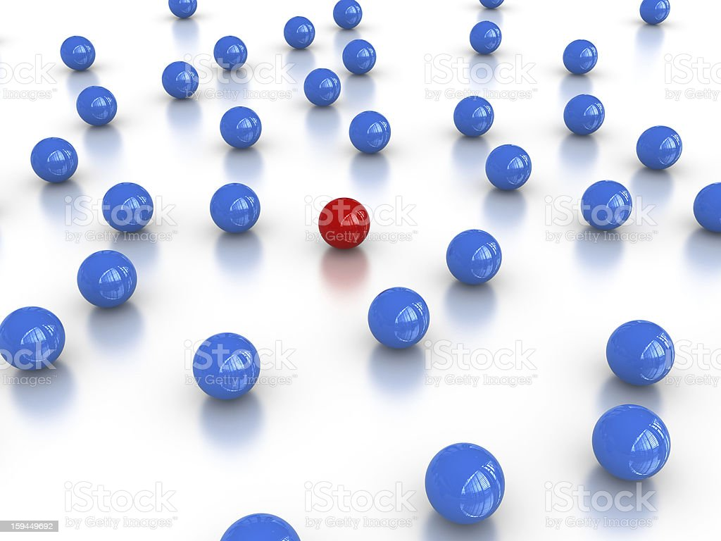 Blue Spheres with Red One on Center royalty-free stock photo
