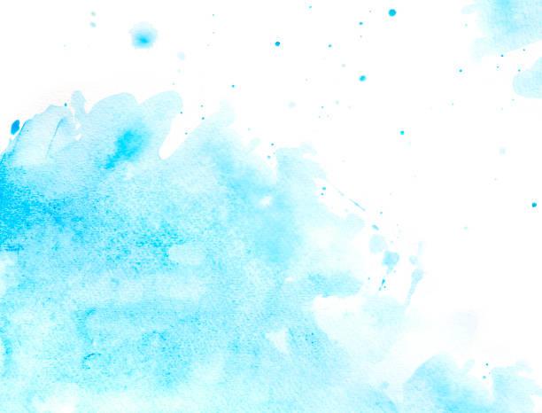 bleu éclaboussure de l'eau à l'aquarelle - aquarelle sur papier photos et images de collection