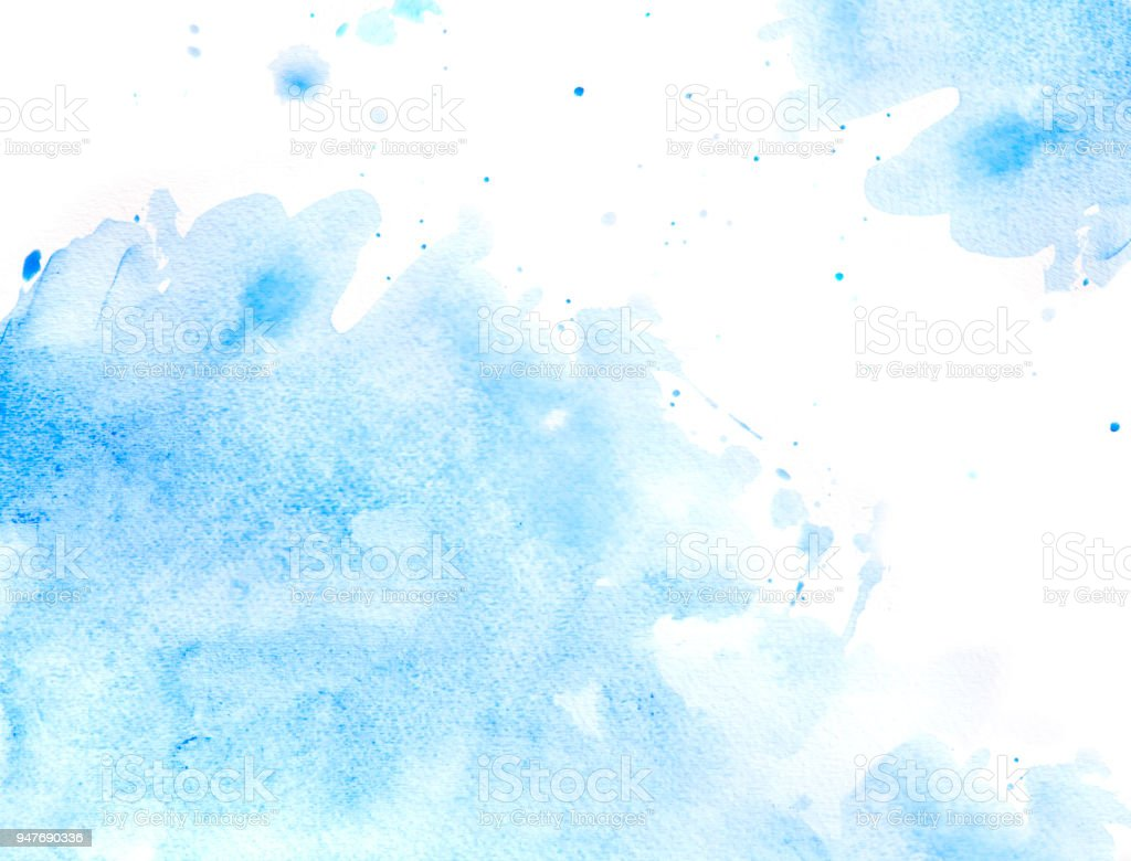 Blue splash of water in watercolor stock photo