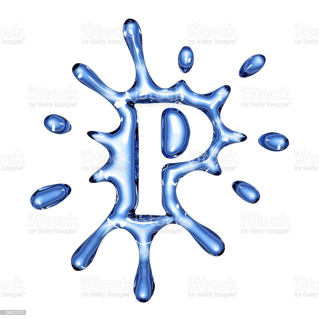 Blue splash water letter P royalty-free stock photo