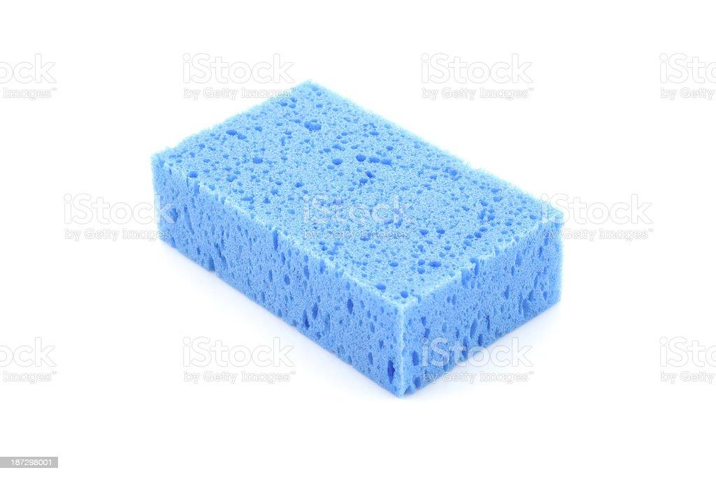 blue sponge isolated on white background stock photo