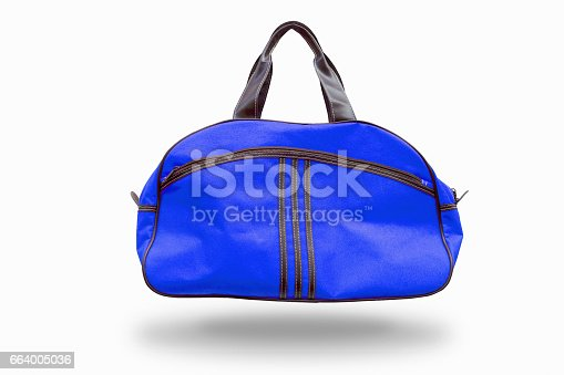 istock Blue sports bag,with clipping path 664005036