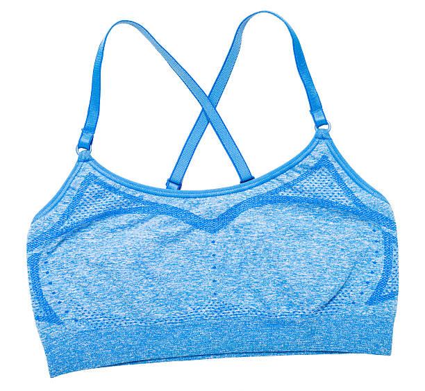 blue sports bra on white - brassière de sport photos et images de collection