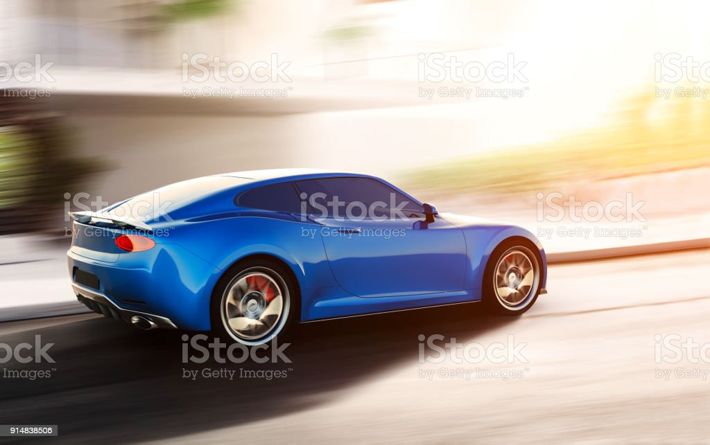 blue sports car driving on urban scene stock photo