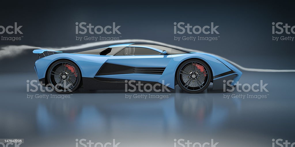Blue Sports Car in a Wind Tunnel stock photo