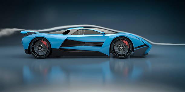 Blue Sport Auto in Wind Tunnel – Foto