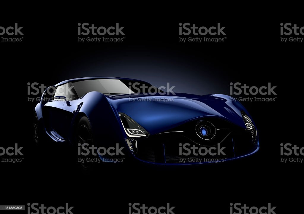 Blue sports car isolated on black background. stock photo
