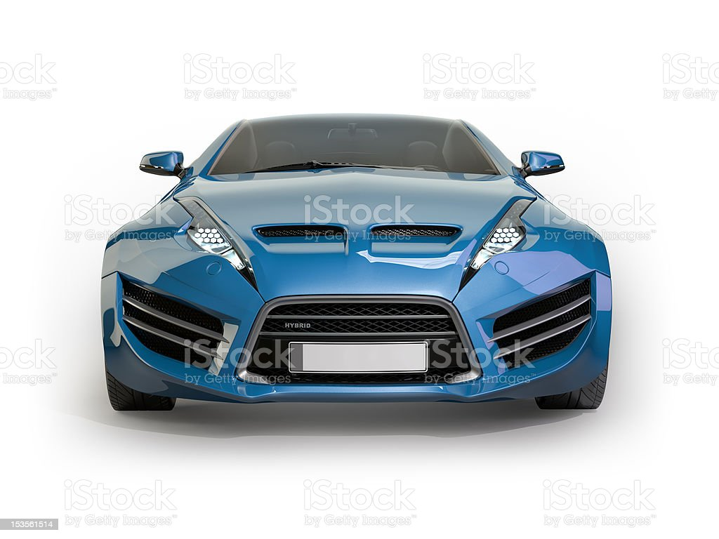 Blue sports car isolated on white background royalty-free stock photo