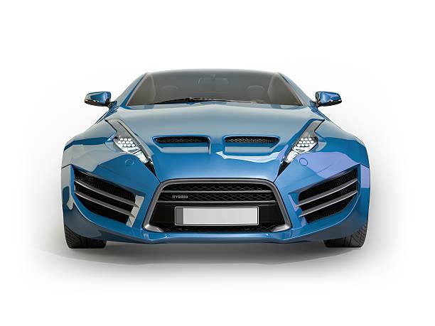 Blue sports car isolated on white background stock photo