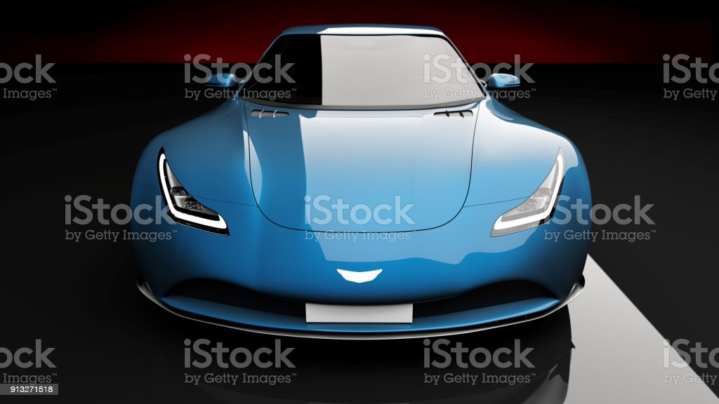 blue sports car on black background stock photo