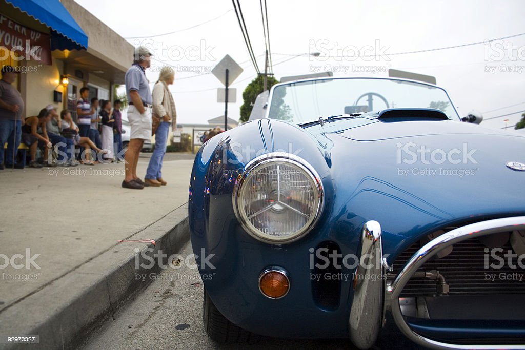 Blue Sportscar stock photo