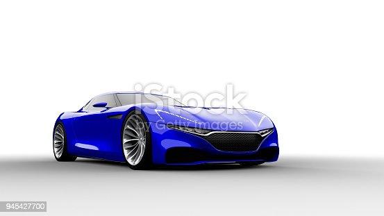 istock blue sportscar studio shot 945427700