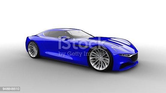 istock blue sportscar studio shot 948848510