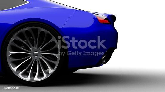 istock blue sportscar studio shot 948848516