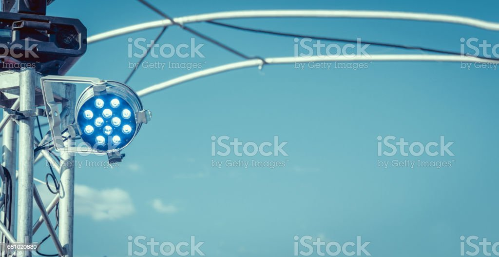blue spotlight background with lamps royalty-free stock photo
