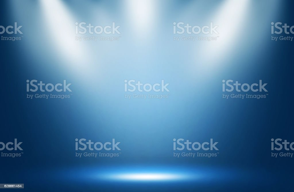 Blue spotlight effect night background. stock photo
